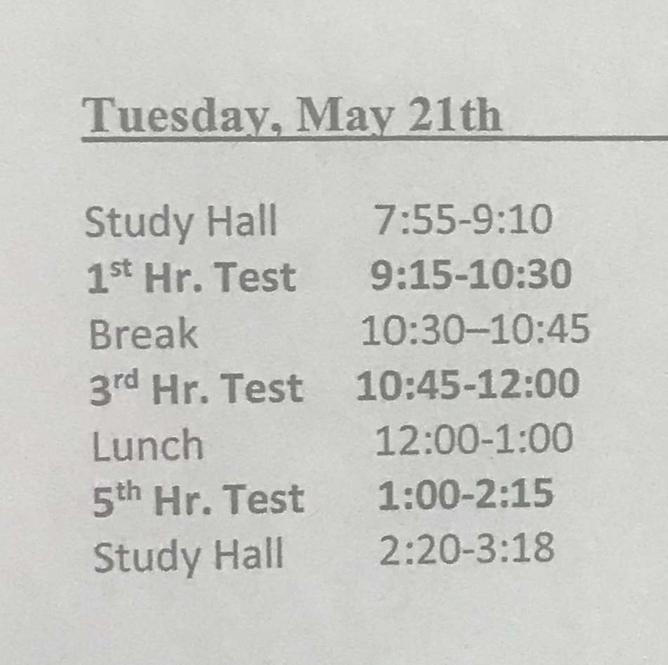 Tuesday Testing Schedule