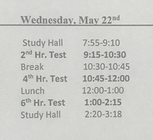 Semester Test Schedule 5/22/19
